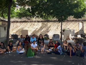 Language class lecture outside